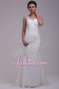 One Shoulder Column Lace Organza Brush Train Wedding Dress