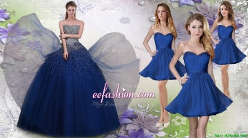 Pretty Navy Blue Really Puffy Quinceanera Package and Fashionable Short Dama Dresses
