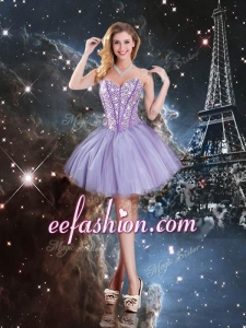 Pretty Sweetheart Mini-length Beading Prom Dresses in Lavender