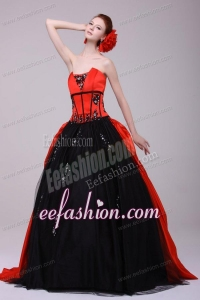 Strapless Red and Black Quinceanera Dress with Appliques with Beading