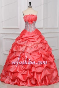 Strapless Sequins and Pick-ups Long Quinceanera Dress in Watermelon