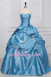 Sweetheart Hand Made Flowers Taffeta Quinceanera Dress in Light Blue