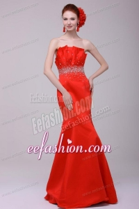 2014 Gorgeous Mermaid Strapless Red Zipper Up Prom Dress with Beading