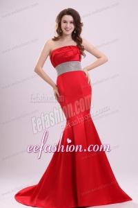 2014 Sexy Strapless Mermaid Beading Brush Train Prom Dress in Red
