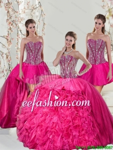 2015 Beautiful and Detachable Hot Pink Quinceanera Dresses with Beading and Ruffles