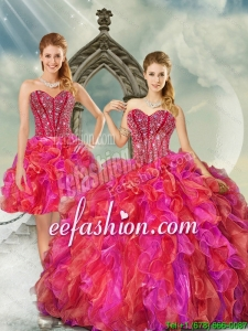 2015 Custom Made Beading and Ruffles Multi Color Quince Dresses