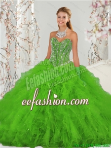 2015 Custom Made Beading and Ruffles Spring Green Sweet 15 Dresses