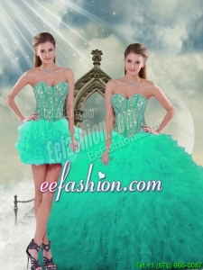2015 Custom Made Beading and Ruffles Sweet 16 Dresses in Apple Green