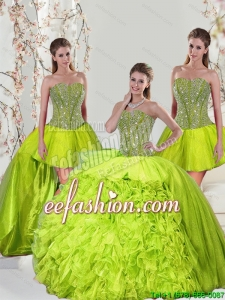 2015 Custom Made Beading and Ruffles Yellow Green Dresses for Quince