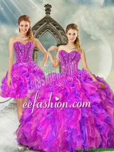 2015 Custom Made Fuchsia and Lavender Quince Dresses with Beading and Ruffles