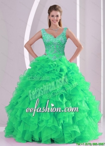 2015 Custom Made Spring Green Quinceanera Dresses with Beading and Ruffles