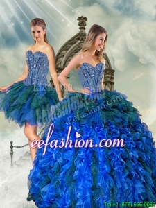 2015 Detachable and Beaautiful Beading and Ruffles Quince Dresses in Royal Blue and Teal
