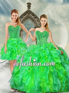 2015 Fashionable and Beautiful Beading and Ruffles Dresses for Quince in Multi Color