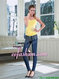 2015 Perfect Sweetheart Light Yellow Corset with Beading
