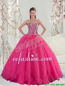 2015 Pretty Sweetheart Hot Pink Sequins And Appliques Quinceanera Dresses