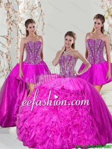 2015 Spring Detachable and Beautiful Hot Pink Sweet 16 Dresses with Beading and Ruffles