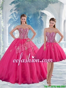 2015 Sweetheart Hot Pink Sequins and Appliques Quinceanera Dresses