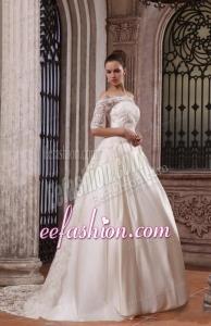 A-Line Off The Shoulder Brush Train Lace Appliques Wedding Dress
