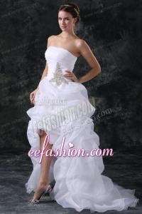 A-Line Strapless High-low Beading Organza Wedding Dress