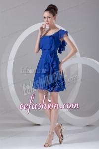 A-line One Shoulder Blue Chiffon Mini-length Ruching Prom Dress