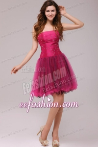 A-line Strapless Beading Organza Fuchsia Prom Dress