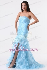 Aqua Blue Mermaid Strapless Prom Dress with Beading and Layers