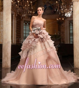 Ball Gown Strapless Champagne Ruffles Organza Wedding Dress with Court