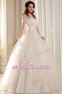 Ball Gown Sweetheart Beading on Flowers Floor-length Wedding Dress