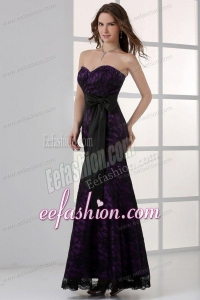 Black and Purple Mermaid Sweetheart Ankle-length Prom Dress with Sash