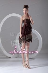 Cheap A-line Sweetheart Mini-length Chiffon Brown Prom Dress