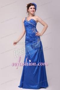 Cheap Column One Shoulder Blue Floor-length Beading Prom Dress