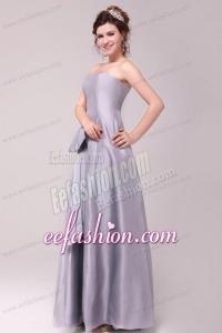 Cheap Column Strapless Floor-length Grey Bowknot Prom Dress