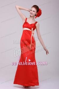 Cheap Column Straps Floor-length Taffeta Sash Red Prom Dress
