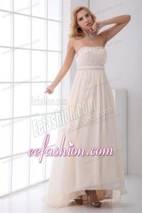 Cheap Empire Strapless Asymmetrical Wedding Dress with Beading