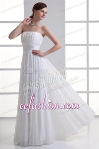 Cheap Empire Strapless Chiffon Wedding Dress with Ruching