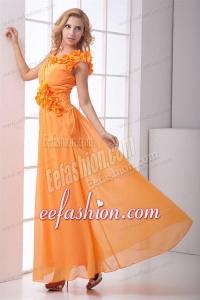 Cheap Empire V-neck Ruching Ankle-length Orange Chiffon Prom Dress