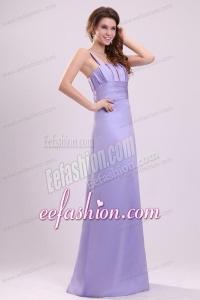 Cheap Lavender Column Straps Ruching Taffeta Floor-length Prom Dress