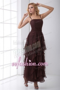 Column Brown Chiffon Ankle-length Prom Dress with Straps