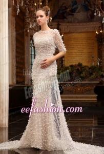 Column High Neck Zipper Up Tulle Wedding Dress with Half Sleeves