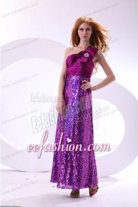 Column One Shoulder Purple Ankle-length Sequins Paillette Prom Dress