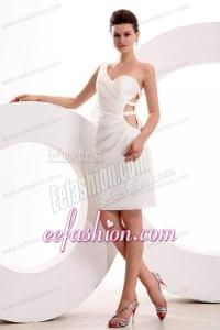 Column One Shoulder Ruching Mini-length Wedding Dress