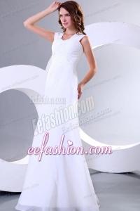 Column Square Chiffon Ruching Floor-length Wedding Dress