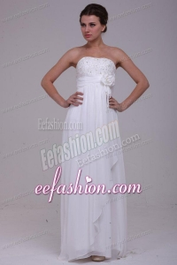 Column Strapless Chiffon Floor-length Beading Wedding Dress