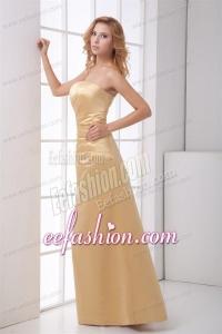 Column Strapless Floor-length Champagne Ruching Prom Dress