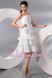 Column Strapless Knee-length Wedding Dress with Bowknot and Ruche