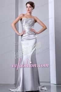 Column Strapless Silver Beading Ruching Brush Train Wedding Dress