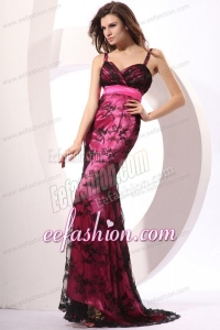 Column Straps Embroidery Prom Dress with Brush Train in Hot Pink