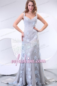 Column Straps Taffeta Grey Embroidery Prom Dress with Brush Train