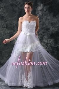 Column Sweetheart Appliques Tulle Detachable Skirt Wedding Dress