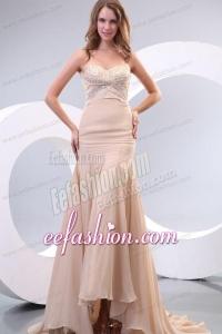 Column Sweetheart Beading Ruching Chanmpagne Wedding Dress